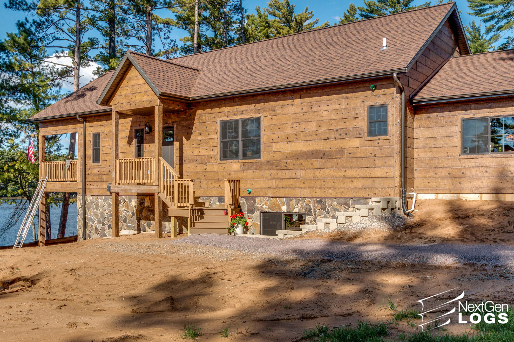 Hand Hewn Siding Lake Home Project Nextgen Logs